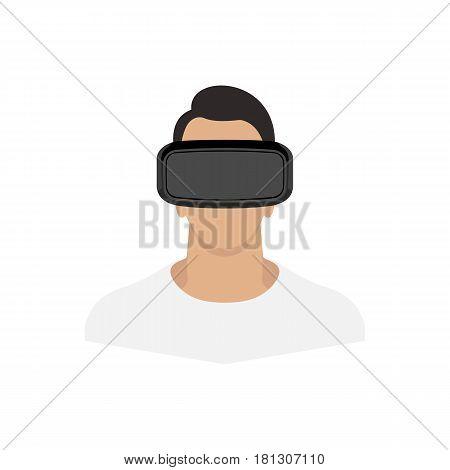 Man wearing virtual reality glasses. Vector illustration.