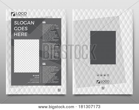 Business vector set. Brochure template layout cover design magazine flyer in A4 monochrome geometric shapes squares triangles arrows for IT business building. Abstract.