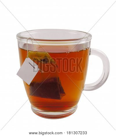 Glass teacup with teabag isolated on white with Clipping Path