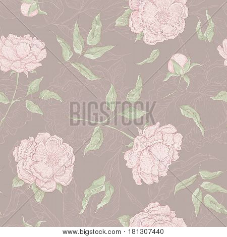 Vector pastel seamless pattern of flowers. Blooming peony with an open and a closed bud, leaves and twigs. Graphic illustration for wallpaper or textile.