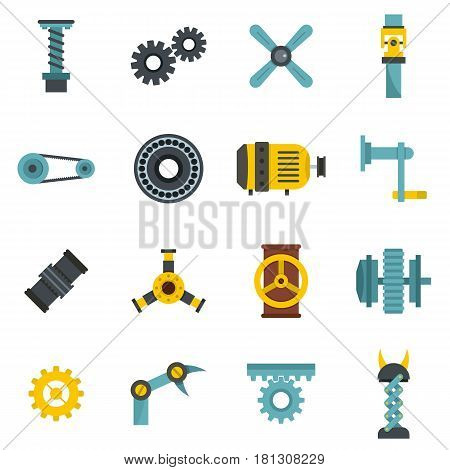 Techno mechanisms kit icons set in flat style isolated vector illustration
