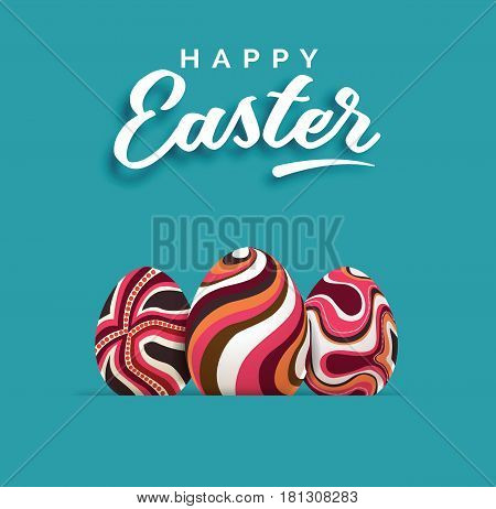 Three different easter eggs. Easter background card. Vector stock.