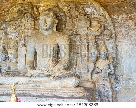 The Buddha Statue In Cavern Of Gal Viharaya