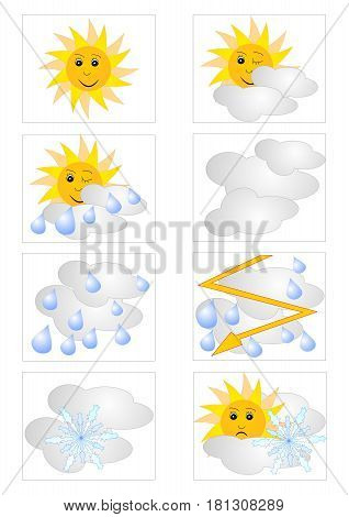 Set of web icons for weather forecast with meteorologic symbols internet weather forecast sun cloud, rain, storm, snow