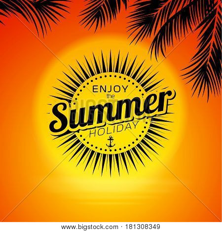 Summer background design. Summer background with sunset. Vector stock.