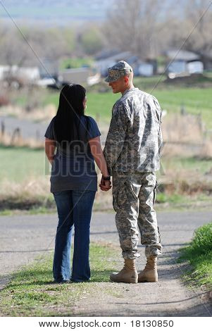 American Soldier Saying Goodbye