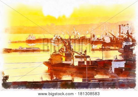 Colorful painting of Trade port, Algiers,  Algeria