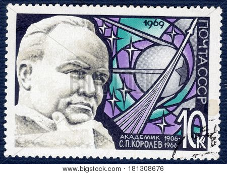 USSR - CIRCA 1969: Postage stamp printed in USSR shows portrait of designer of space rockets, academician S. P. Korolev (1906-1966), from series