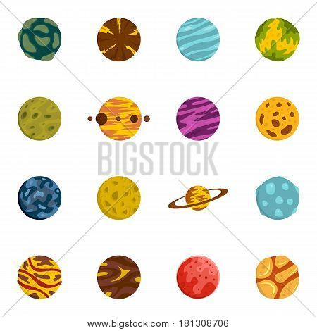 Fantastic planets icons set in flat style isolated vector illustration