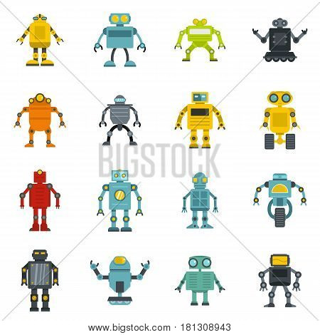 Robot icons set in flat style isolated vector illustration