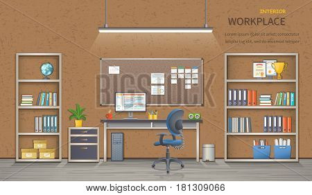 Stylish and modern office workplace. Room interior with desk, armchair, monitor, shelves, office supplies, flowerpot, folders, books and board for notes. Detailed vector illustration for web banner.