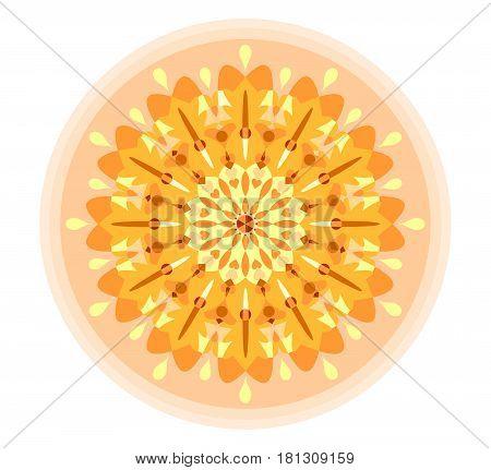 Yellow mandala for energy obtaining, magic symmetric esoteric shape