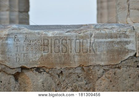 Inscriptions Carved Into Temple Of Poseidon In Greece