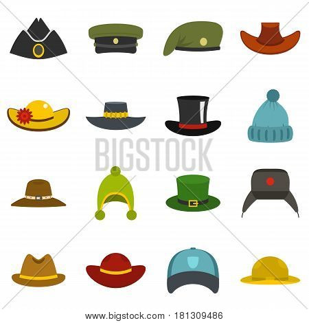 Headdress hat icons set in flat style isolated vector illustration