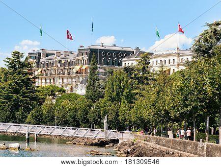 Beau Rivage Palace Hotel In Lake Geneva Promenade In Lausanne