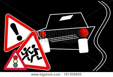 road traffic signs. attention. road accident, traffic motion,