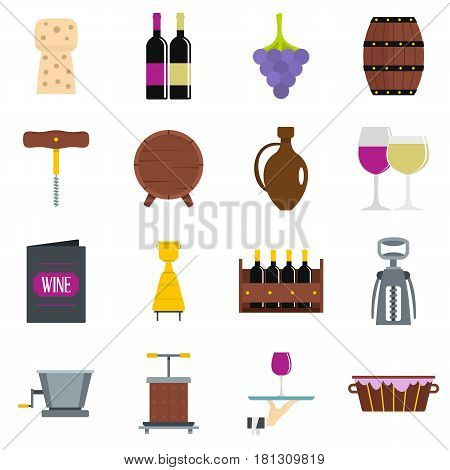 Wine icons set in flat style isolated vector illustration