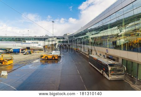 Moscow, Russia - March 29.2017. Technical Zone in a Terminal D Sheremetyevo Airport
