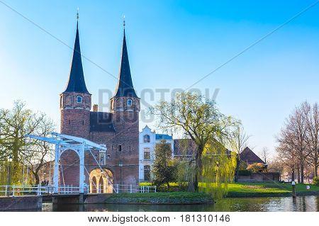 Oostpoort or Eastern Gate dome in Delft, Netherlands, Holland
