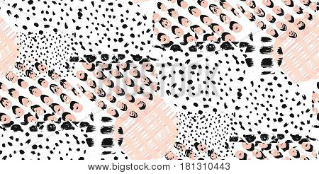 Abstract hand drawn geometric seamless pattern or background with glitter sharpen textures brush painted elements. Poster card textile wallpaper template.Pink black and white colors