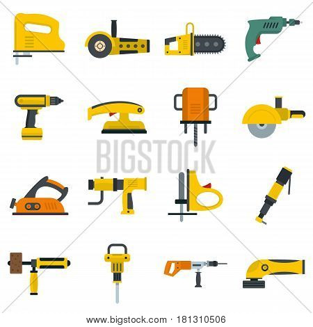 Electric tools icons set in flat style isolated vector illustration
