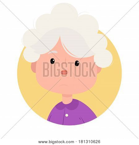 Portrait of pretty grandmother smiling. Modern simple and clear design. Vector icon in flat style.