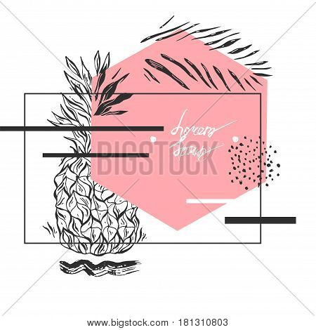 Hand drawn vector abstract textured geometric minimalism pineapple card template in pastel, white and black colors isolated on white.Minimal design.Minimalistic background