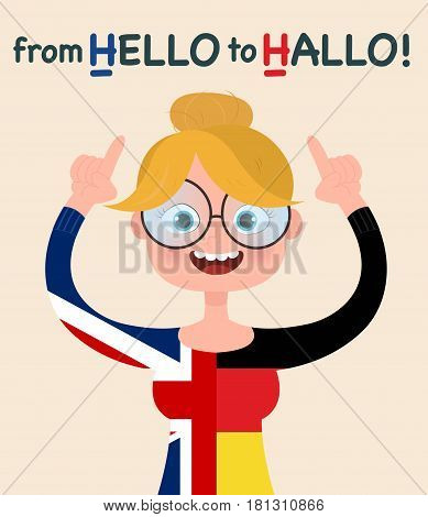 Learning foreign languages. A girl in half a t-shirt of the UK and Germany. Vector illustration of cartoon character girl with glasses and T-shirt.
