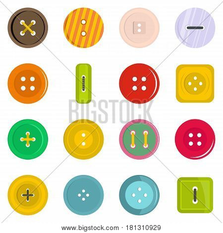 Clothes button icons set in flat style isolated vector illustration