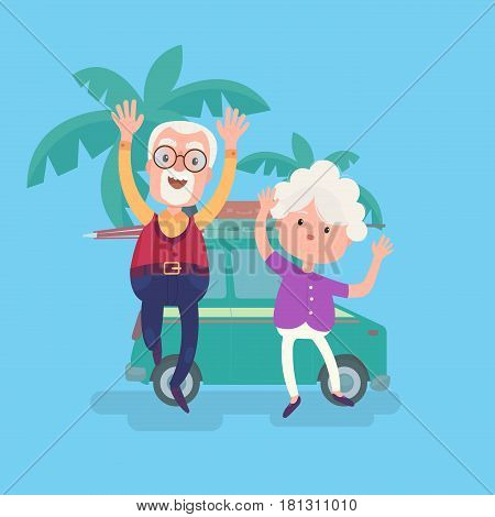 Happy funny grandparents couple on vacation with suitcases stand near traveling car. Cool vector flat character design on senior age travelers.
