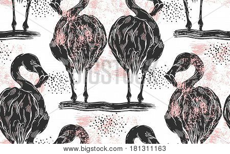 Flamingo seamless pattern with polka dots background. Black Flamingo vector design for fabric print and decor.