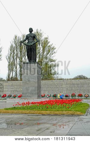 Saint-Petersburg, Russia - May 16, 2006: View of Monument Mother Homeland. Piskarevskoe memorial cemetery with graves of victims of siege of Leningrad, USSR during Second World War