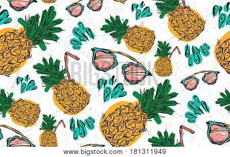 Hand drawn vector seamless pattern of pineapple with pink sunglasses, water splashes and juice straw on white background. Vector tropical bright summer illustration of fruit pineapple.