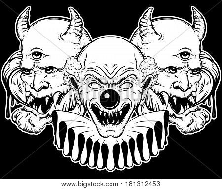 Vector hand drawn illustration of angry clown and daemon. Tattoo artwork in realistic line style. Portrait of ugly clown. Character design. Template for card poster banner print for t-shirt.