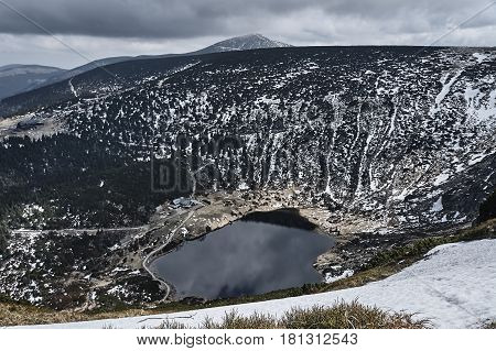 Small Pond and shelter in the Giant Mountains Poland