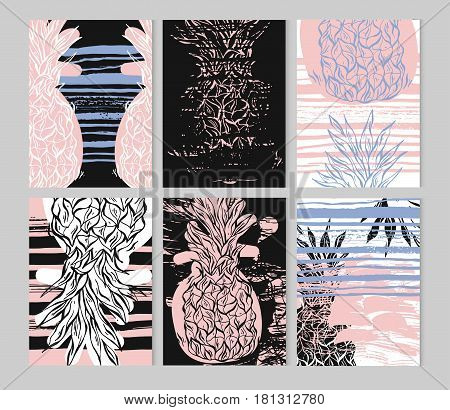 Summer hand drawn ink stroke textured card set.Vector collection of blackwhiterose quartz and serenity colored summer cards.Journal beautiful summer posters with pineapple and place for your text.