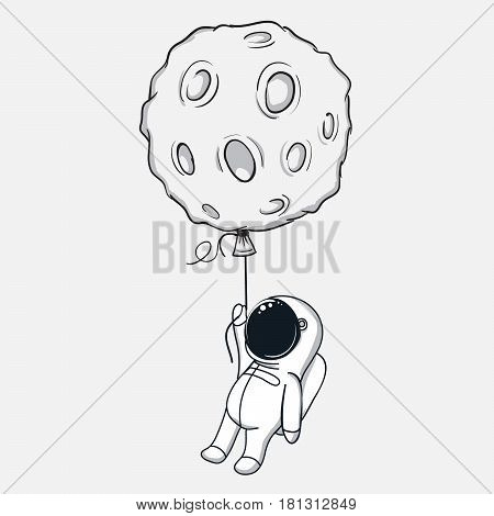 Cute spaceman flies with the moon.Abstract childish vector illustration