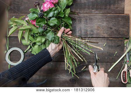 flowers on the florist's table in flowershop