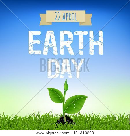 Earth Day Card With Young Plant