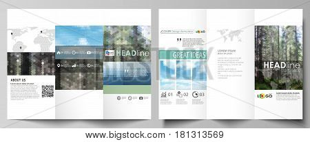 Tri-fold brochure business templates on both sides. Easy editable abstract vector layout in flat design. Colorful background made of triangular or hexagonal texture for travel business, natural landscape in polygonal style.