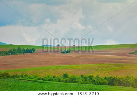 Fields under the Cloudy Sky in Bulgaria
