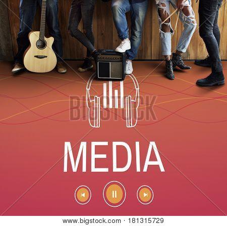 Media Video Audio Headphones Graphic Concept