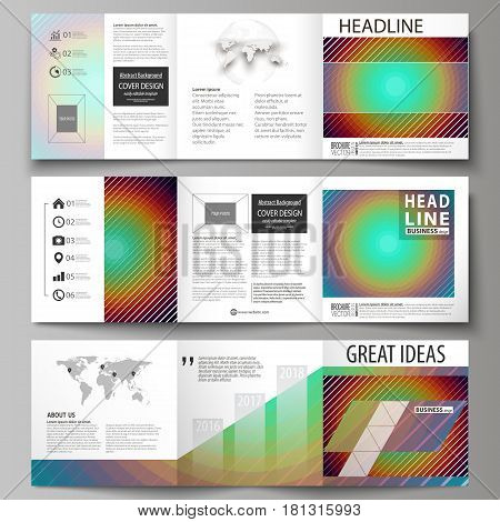 Set of business templates for tri fold square design brochures. Leaflet cover, abstract flat layout, easy editable vector. Minimalistic design with circles, diagonal lines. Geometric shapes forming beautiful retro background.