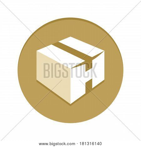 Box Golden Icon vector illustration. Gold Delivery sign