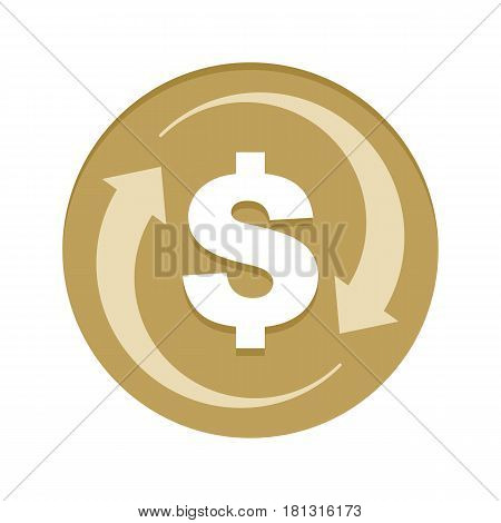 Money Cash back golden icon vector illustration