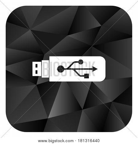 Usb black color web modern brillant design square internet icon on white background.