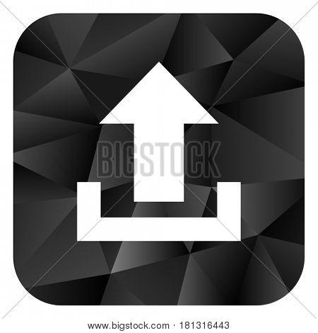 Upload black color web modern brillant design square internet icon on white background.