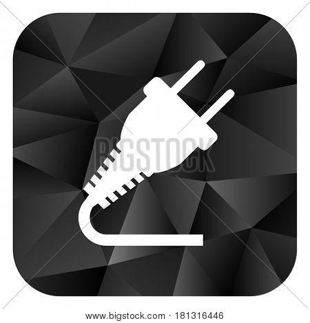 Plug black color web modern brillant design square internet icon on white background.