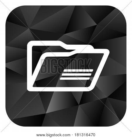 Folder black color web modern brillant design square internet icon on white background.