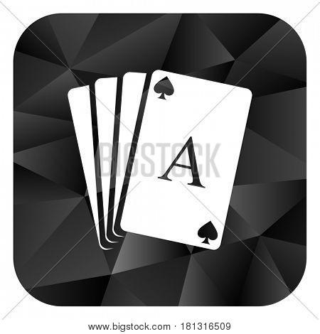 Card black color web modern brillant design square internet icon on white background.